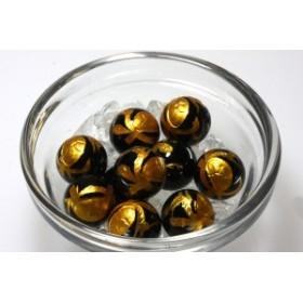 天然石 ビーズ【彫刻ビーズ】オニキス 12mm (金浅彫り) 玄武 パワーストーン