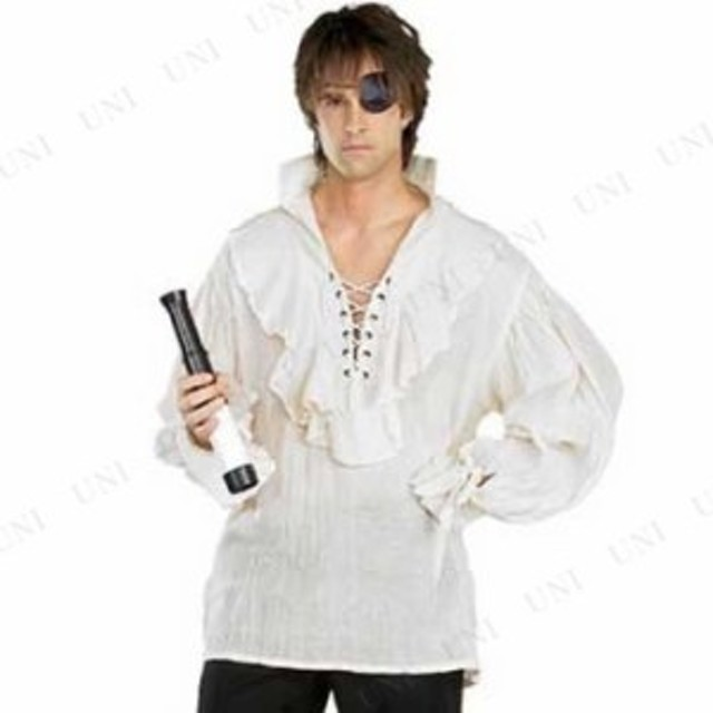 パイレーツシャツ ガーゼ/ナチュラル Std 仮装 衣装 コスプレ ハロウィン 余興 大人用 メンズ シャツ 海賊 パイレーツ コスチューム 男性