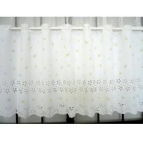 高周波加工で柄をくりぬいたプリントカフエカ-テン 巾140cm×丈50cm