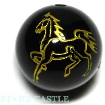 天然石 ビーズ【彫刻ビーズ】オニキス 12mm (金彫り) (線彫り) 馬 [縦穴] パワーストーン