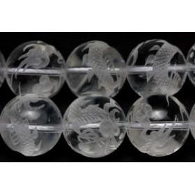 天然石 ビーズ【彫刻ビーズ】水晶 16mm (素彫り) 五爪龍 (一連売り) パワーストーン