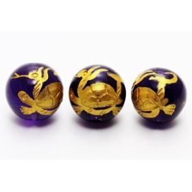 天然石 ビーズ【彫刻ビーズ】アメジスト 10mm (金彫り) 玄武 パワーストーン