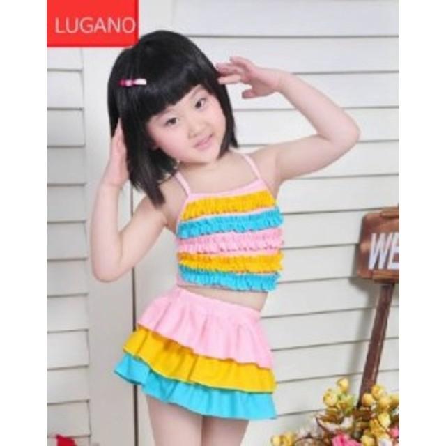 2fbe934d674 Y263 女児水着 子供 水着 かわいい 可愛い女の子 みずぎ ラブリー プリンセス水着 帽子付き (