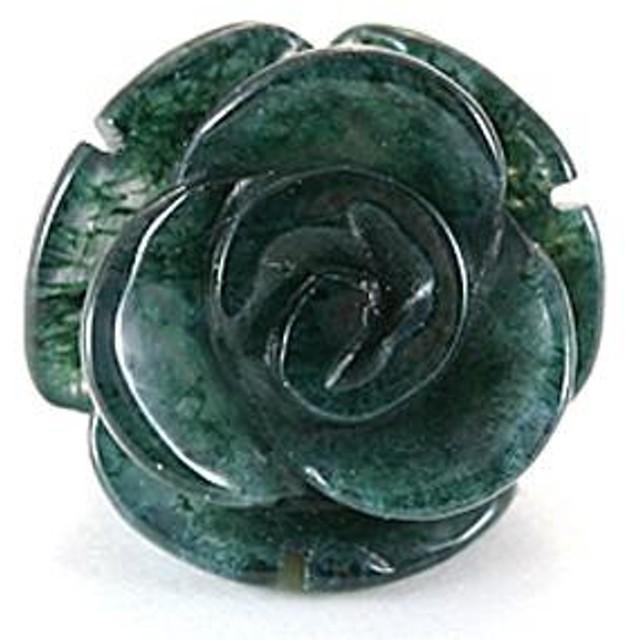 天然石 ビーズ【モチーフビーズ】薔薇 (立体) 10mm モスグリーンアゲート パワーストーン