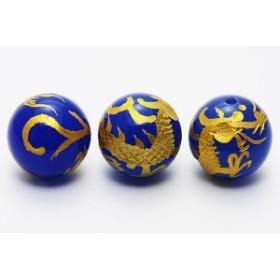 天然石 ビーズ【彫刻ビーズ】ブルーメノウ 12mm (金彫り) 青龍 パワーストーン