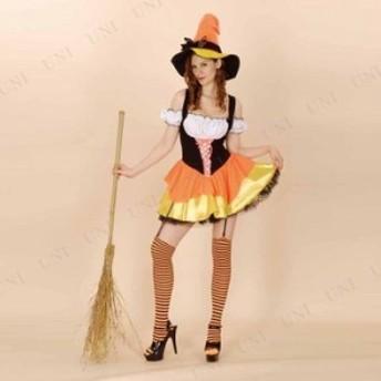 !! キャンディーコーンウィッチ 仮装 衣装 コスプレ ハロウィン 余興 大人用 コスチューム 女性 魔女 女性用 レディース パーティーグッ