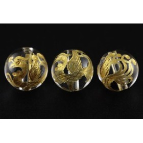 天然石 ビーズ【彫刻ビーズ】水晶 10mm (金彫り) 朱雀 パワーストーン