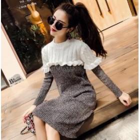 [55555SHOP]ニットワンピース フリルワンピース 女性らしい エレガントなワンピース ゆったり 韓国ファッション