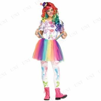 !! クレイジーカラー・クラウン ティーンズサイズ S 仮装 衣装 コスプレ ハロウィン 子供 キッズ 子ども用 コスチューム ピエロ こども