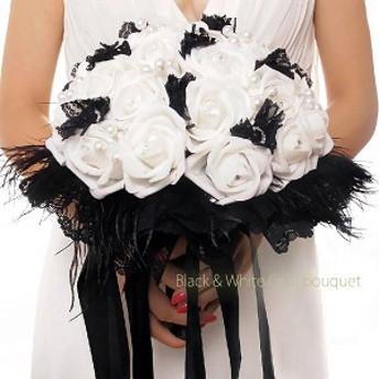 ★[送料無料][海外]ブラック&ホワイトブーケ[シックなカラードレスにピッタリ]造花[納期:約2-3週間]