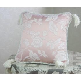【レビューでさらに割引】【ジェニファーテイラーhearroom-pink】クッション タッセル付W35×35cm
