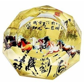 灰皿 勇壮な駆ける馬 中国的 馬到成功 ガラス製
