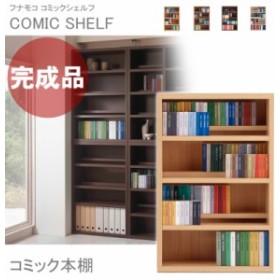 本棚 完成品 大容量 コミック 前後2段 コミック収納 日本製 約 幅75cm ロータイプ コミックシェルフ CS-76L フナモコ