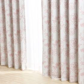 花柄プリント遮光ドレープカーテン リリー ピンク 幅100x100丈 一枚入り 厚地カーテン ピンク系