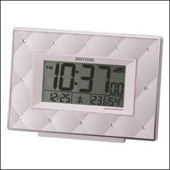 RHYTHM リズム時計 クロック 8RZ167SR13 電波 目覚まし時計 フィットウェーブアビスコ