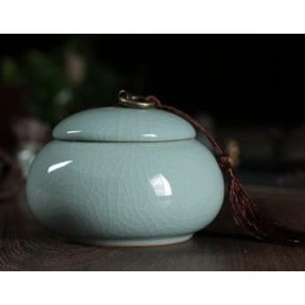 小物入れ 楕円形 ひび割れ模様 ふさ付きの蓋 陶器製器製 (ライトブルー)