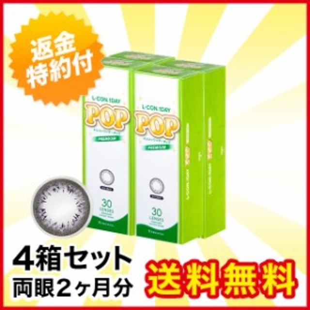 エルコンワンデーポップ プレミアムリッチブラック 30枚 ×4箱 1day カラーコンタクトレンズ 送料無料 キャッシュレス5%還元