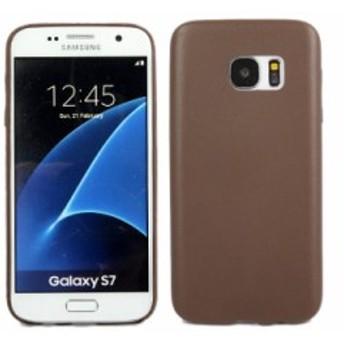 Samsung Galaxy S7 防塵 ソフトTPU製 ケース 保護カバー レザー調#ブラウン【新品/送料込み】