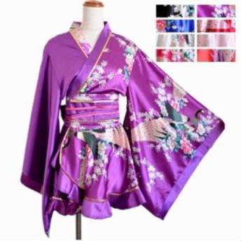 着物 ドレス 花魁 コスプレ よさこい 衣装 Jewel ジュエル 花魁ドレス 着物ドレス 孔雀柄 アシメ柄