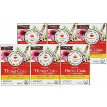 【取り寄せ】【バリュー6箱セット】 レモンエキナセア スロートコート Traditional Medicinals 16ティーバッグ Throat Coat Lemon Echi