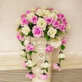 造花 バラ 50個付き 半円型 しだれ風 (オフホワイト×ライトパープル)