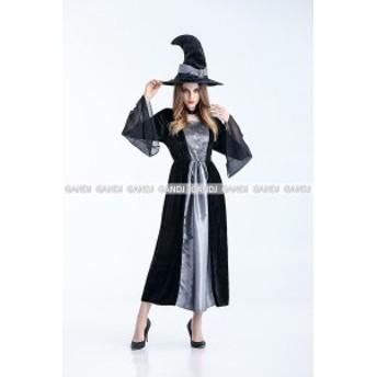 魔女 コスプレ シルバー×黒 ハロウィン コスプレ 魔女 コスチューム  HALLOWEEN 衣装 魔女 仮装 魔女 ドレス 7874