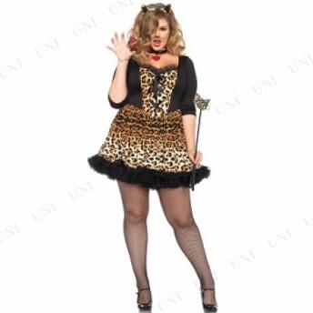 ワイルドキャット 1X-2X 仮装 衣装 コスプレ ハロウィン 余興 大人用 コスチューム 女性 動物 アニマル 大きいサイズ レディース ヒョウ