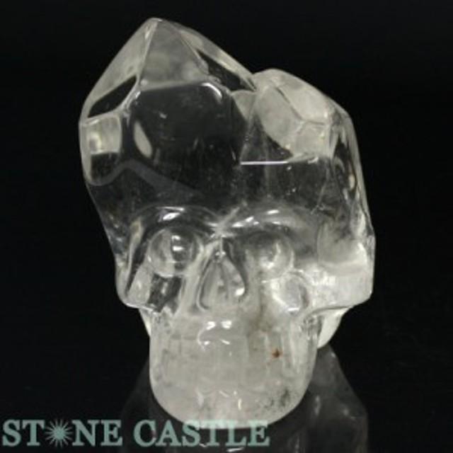 ☆置物一点物☆【天然石 彫刻置物】水晶 ドクロ (虹入り) No.06  パワーストーン