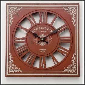 時計 壁掛ケ アナログ アンティーク アメリカン雑貨 掛ケ時計 オールドルックロック ウォール スケルトン レッド