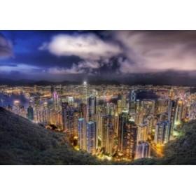 ポスター 夜景 香港 高層ビル群 風景 100万ドルの夜景 (A)