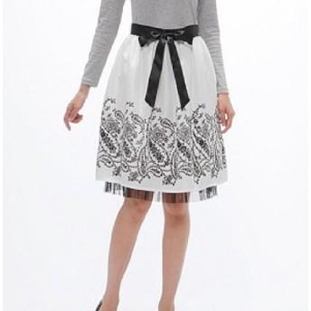 イマージュ パネルプリントスカート ペイズリー柄裾チュール