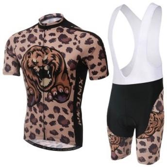 2点セット ビブショーツ 自転車ウェア 上下セット 半袖 Tシャツ 自転車用ジャージ パンツ サイクルウエア メンズ 男性用 夏秋通気 薄手