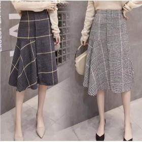 マーメイドスカート ミディスカート ロングスカート チェック クラッシュベロア ベロア 巻きスカート スカート ボトム レディース 冬 新作 韓国ファッション
