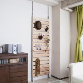 突っ張りラック ひのき製 幅60cm ( 送料無料 壁面収納 ディスプレイ 天井つっぱり ハンガーラック 桧 ヒノキ )