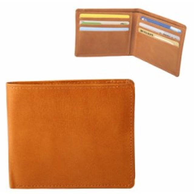 メンズ財布W 二つ折り財布Wメンズ財布W二つ折れ財布 播州レザー 姫路レザー バンタンレザー カード入れ 札入れ キャメル 102323 春財布