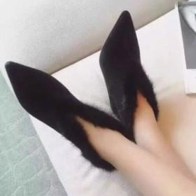 【即納特価】【23.0cm】ファー ふわふわ スエード ピンヒール ブーティ