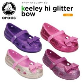 【送料無料対象外】クロックス(crocs) キーリー ハイグリッター ボウ (keeley hi glitter bow) キッズ/サンダル[C/A]