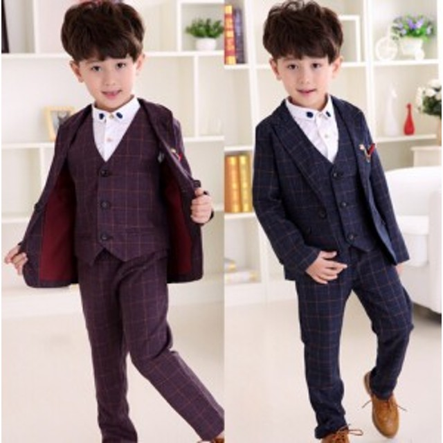 952134dafb2a0 結婚式 長袖スーツ+パンツ+ベストチェック柄フォーマル子供服 男の子 ...