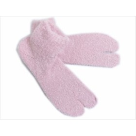 カジュアル着物&ルームソックスに 冬用ふわふわヒートあったかストレッチ足袋ピンク(フリー)