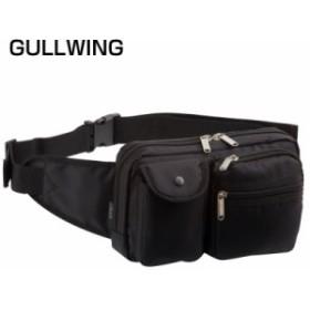 メンズ  男性用 紳士 セカンドバッグ クラッチバッグ  ガルウィング ウエストポーチ 黒 25738