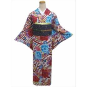 洗える袷着物(小紋)と軽装帯(付け帯)セット総柄赤色ストライプ地牡丹古典花L