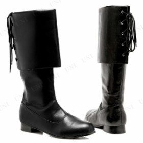 【送料無料】パイレーツブーツ バックレースアップ ブラック メンズM 28~29cm コスプレ 衣装 ハロウィン パーティー 靴 海賊 パイレーツ