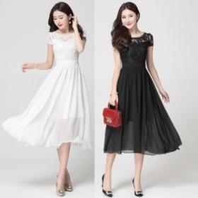 膝下ドレス【黒3L即納】出かけレースシフォン切替ワンピース大きいサイズ黒白S-4L LSFS-619604