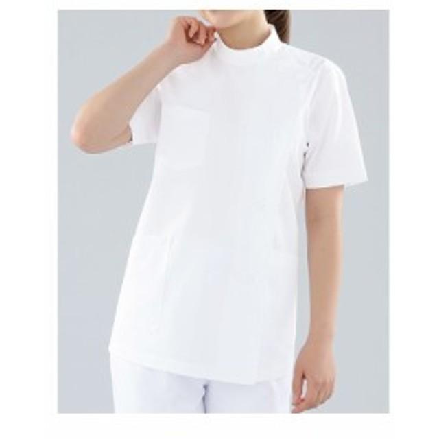 KAZEN レディス医務衣半袖 ホワイト 360-30