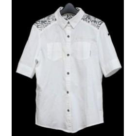 【新品】未使用 CORNFLAKE コーンフレーク「L」レース切替 半袖ブラウス (ワークシャツ) 079610