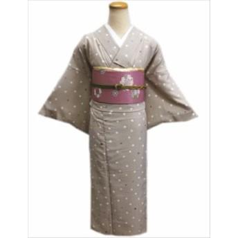 洗える袷着物(小紋)と軽装帯(付け帯)セットベージュ地クローバー桜ドットM・L