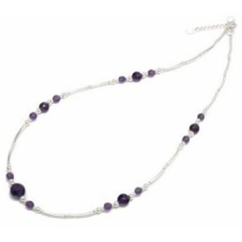 【送料無料】シルバー925 天然石 アメジスト 紫水晶 ハンドメイド シルバーネックレス