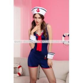 連体セーラー 婦警 海軍 コスプレ衣装 ワンピース ハロウィン衣装 制服 コスチューム 仮装 5651