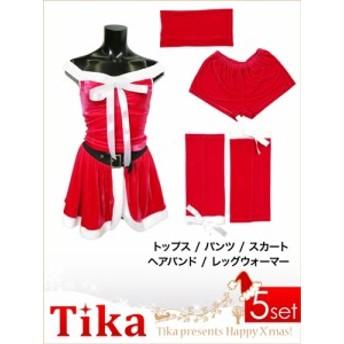 【サンタコスチューム♪】【Tika ティカ】5set背中スピンドルサンタミニドレスワンピース