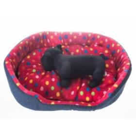 猫 小型犬 防寒用ふかふか ペットソファベッド デニム調/Mサイズ #カラフル水玉/レッド 送料込